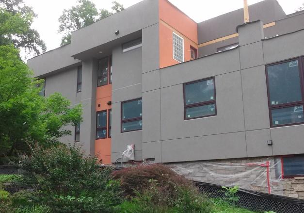 Detail of orange panels on northwest side